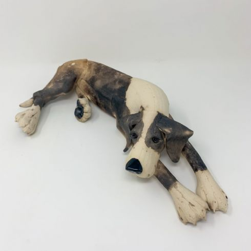 Virginia Dowe-Edwards Artist - Lying Brown & White Dog Sculpture